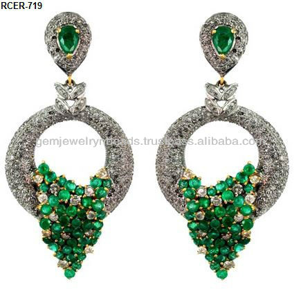 Beautiful Handmade Emerald Pave Diamond Anniversary Earring 925 Sterling Silver Jewelry for cute girl and women