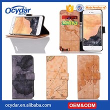 Best Alibaba Manufacture Map Designed Pattern Leather Wallet Case for iPhone 7,for iPhone 7 Back Cover