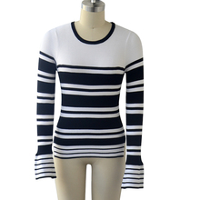 Competitive Price Most Popular Spring Ladies Slim Knitted Stripe Jumper