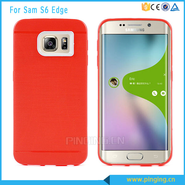 Soft brushed tpu with pc camera protect case for Samsung galaxy s6 edge 2 in 1 phone case