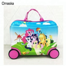 China factory wholesale high quality cute 4wheels printing PC kids luggage trolley