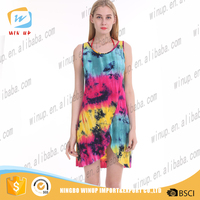 Wholesale ladies free prom nighty dress girls short tie-dye sexy dress