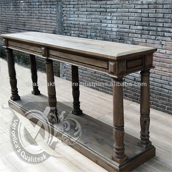 Antique Pedestal Style Console Table With Distressed Finish