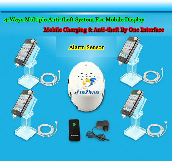 4 ports shop exhibit display security alarm and charge sensor device for tablet