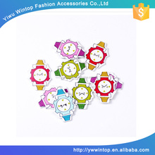 unique design cartoon watch shaped multi color wooden button bulk
