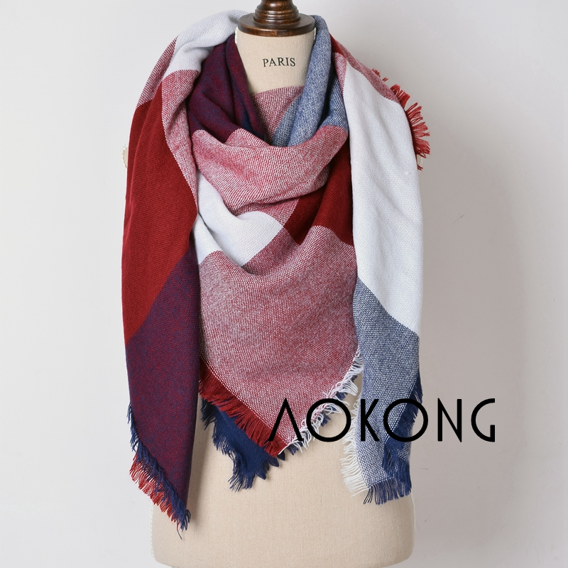 Hot sale muti colors stock large square winter cape oversize tartan acrylic plaid blanket scarves