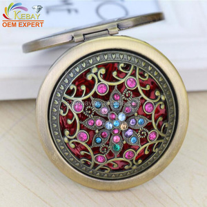 Custom made round antique pocket mirror flexible compact mirror