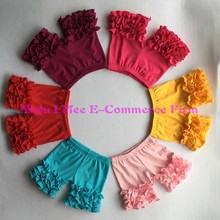 Free Shipping Wholesale Girls Icing Shorts Boutique Knitted Cotton Children's Multicolor Triple Ruffled Shorties BS010