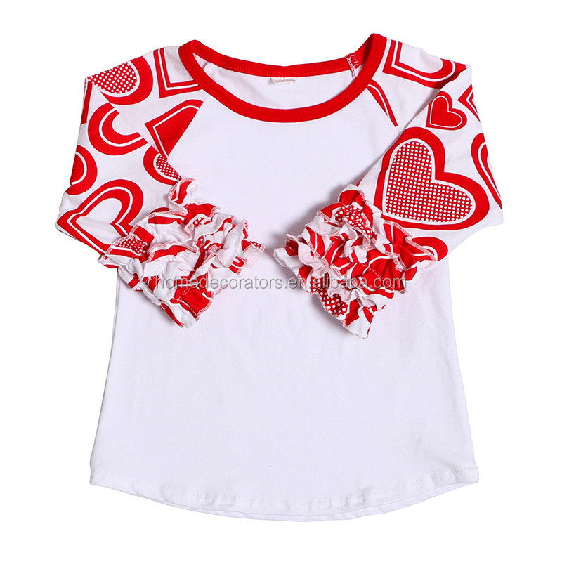 Valentine's Day 3/4 ruffle shirts for baby girl wholesale icing ruffle raglan shirt boutique cotton t shirt