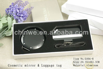 Travel accessory luggage tag and mirror