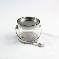 clear miniature paint cans/bucket with tin lid for crafts