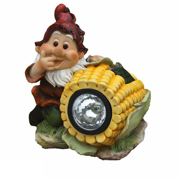 Funny gnome with corn shaped flashlight