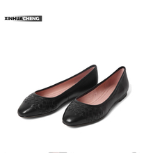 popular design black genuine leather women dress shoe