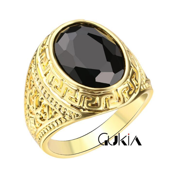 2017 European and American men's jewelry foreign trade ring 18K gold plated crystal black resin retro rings J0211