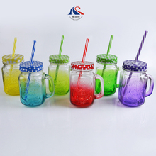 China Manufacturer Wholesale Embossed Colored Glass Mason Jars with Handle Straw Lids
