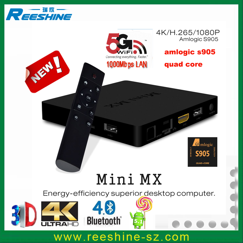 mini mx Amlogic S905 Quad Core internet indian tv box 2g 16g android tv box car