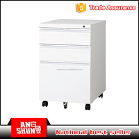 Office Mobile Pedestal 3 Drawer Filing/Storage Cabinet on castors white laminate