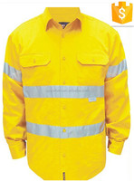 mens fluorescein yellow workwear long sleeve two tones button front 3M hi vis work shirt&tops with anti-UV UPF50