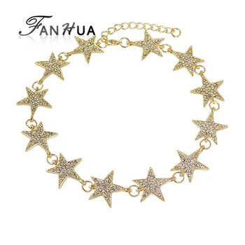 Elegant Gold Color Rhinestone Star Shape Choker Necklaces