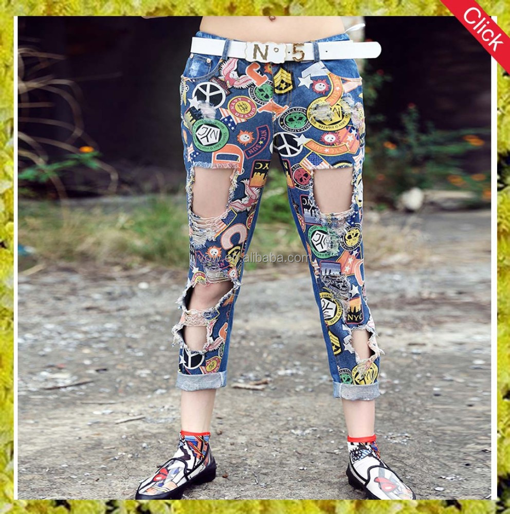 latest design fashion high quality women ripped denim jeans wholesale China women/girls jeans export indian