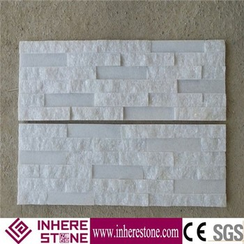 Pure white stacked cultured prefab stone wall stacked stone