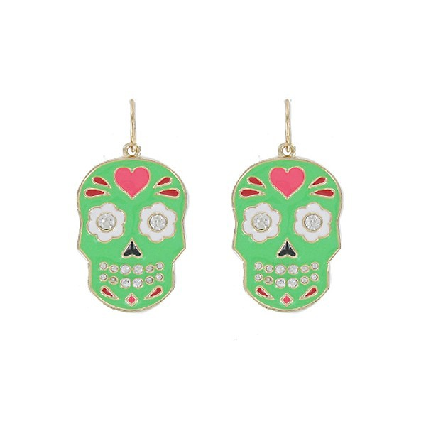 Lead & Cadmium Free Fashion Jewelry Green Enamel Rhinestone Sugar Skull Fish Hook Earring