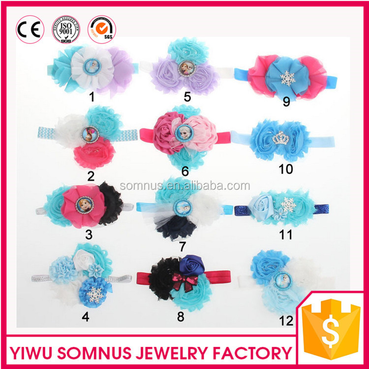 HB-48 Stock 12colors avaliable hot sale fabric chiffon frozen baby elastic <strong>headband</strong>