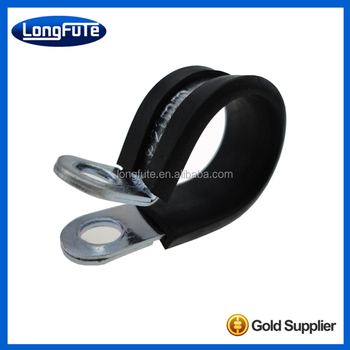 rubber cushioned P shaped pipe clamp