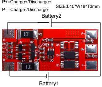 PCM/BMS for 2S Battery Pack with 8A Continuous Discharge Current