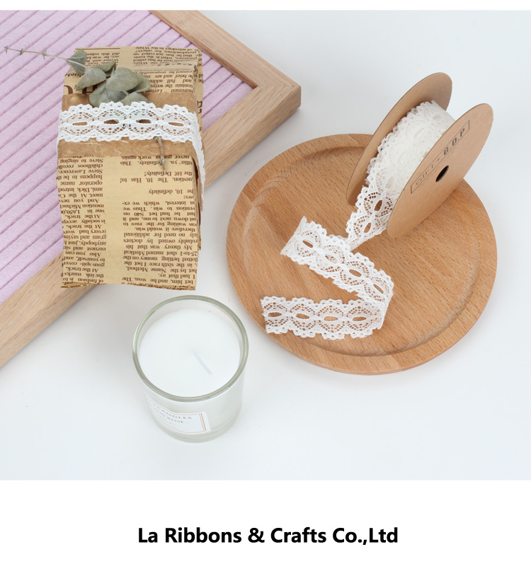 Made in china La Ribbons fabric embroidery 100% cotton white lace trim ribbon