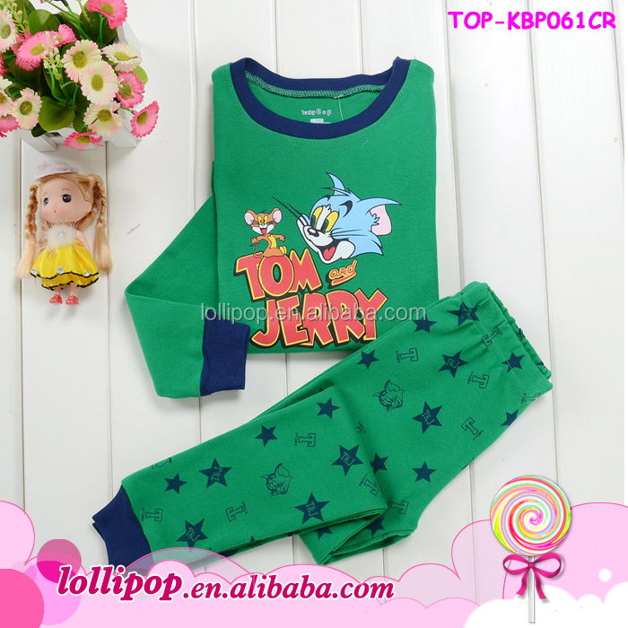2015 New arriving cute cartoon boys outfits children's clothing set tom and jerry cartoon pajamas set