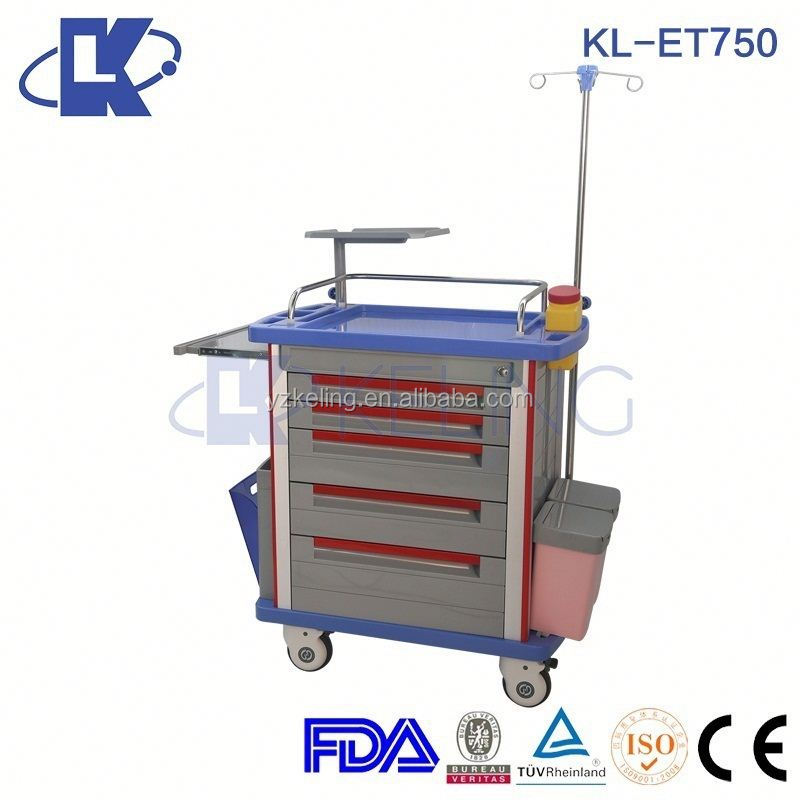 HOT SALE emergency foldable patient trolley with abs side railings