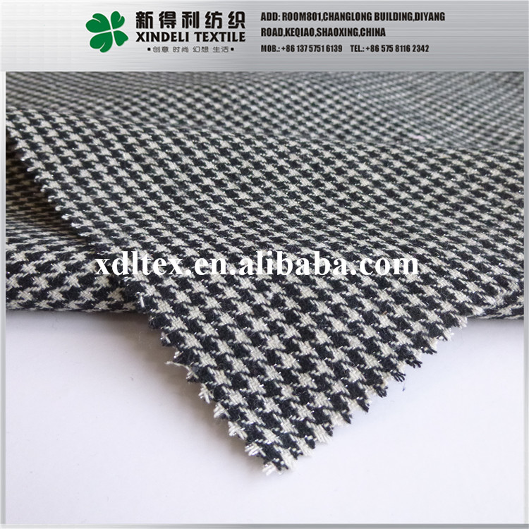 Fashion lady'swear suit material 100% synthetic grey plaid wool cloth fabric