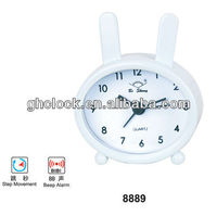 smaller size desk metal spring lovely rabbit clock for promotional gift