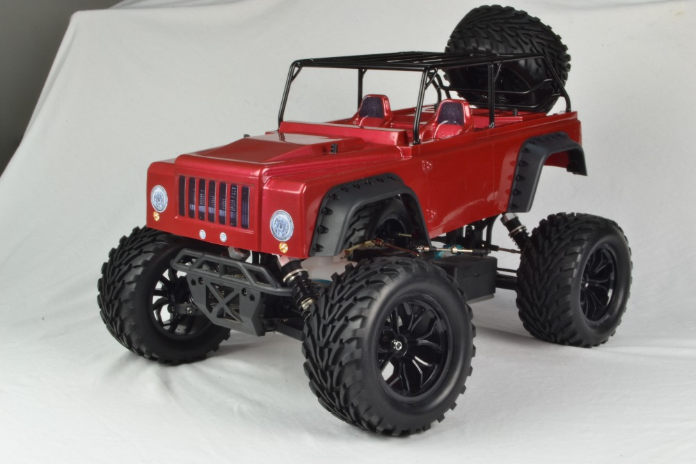 Popular racing toy 1 10 nitro rc monster truck w/red Jeep body, spare wheel, of headlights, tray, trailer for option