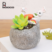 ROOGO Funny resin rabbit stone custom garden containers flower pots for sale