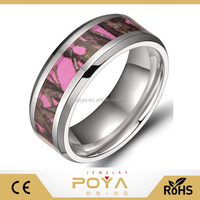 POYA Jewelry Hot Sale 8mm Men's Titanium Ring Pink Forest Camo Camouflage Comfort Fit Wedding Band