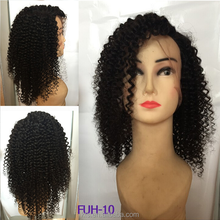 130% Density Full Spring Curl Indian /Brazilian Virgin Full Lace Human Hair Wig ,Human Hair Lace Wig