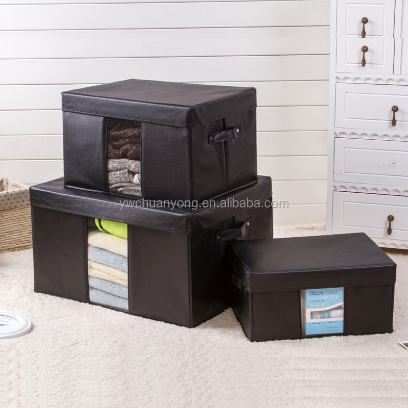 Wholesale Custom Clear Waterproof PU Leather Clothes Foldable Storage Box with Lid
