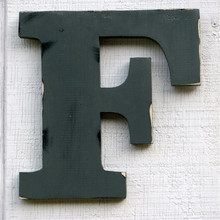 12 inch Rustic Wooden Letter F Distressed Painted Pewter Grey