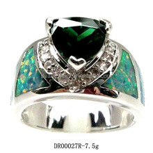 Fashion Silver Jewelry Created Emerald Green Fire Opal Ring