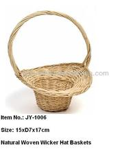 Natural Woven Wicker Hat Baskets with Handle
