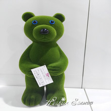 new arrival artificial moss fake grass animal sculpture lovely bear for home decoration
