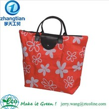 2014 fashion flower reusable shopping bag folding nylon bag