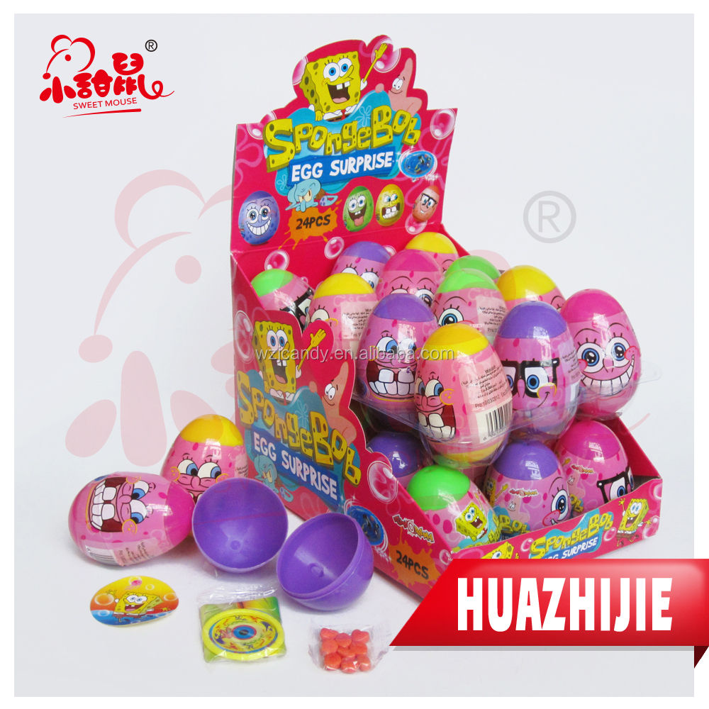 542201610Lovely plastic surprise egg toy candy with cartoon printing