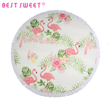 thick large animal design flamingo custom cotton Printed Velour round beach towel