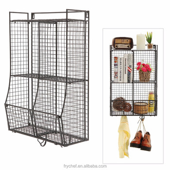 Home Supply Bathroom wall Storage Basket Shelf Metal Wire Organizer Rack Black Color