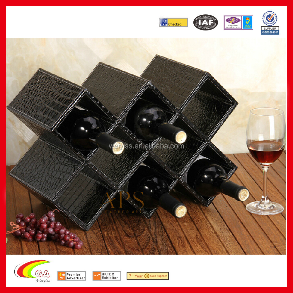 Wholesale Leather Wine Rack, Leather Cover Material Wooden Wine Rack for 8 Bottles