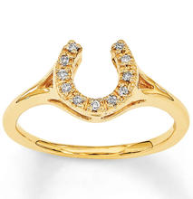 elegant band special design gold plated inlay crystal horseshoe charm zircon texture ring