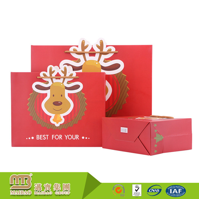 Customized Full Color Printing Fancy Small Flexiloop Handle Christmas Chart Sugar Packaging Paper Bag